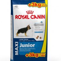 Royal canin Maxi Junior 15+3 kg + snacks + plato de acero