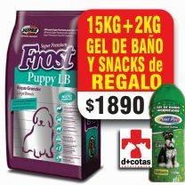 Frost cachorro raza grande 15+2 kg + snacks + 1 gel de baño  $1980 de regalo! ??