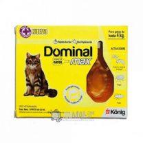 Pipeta Dominal Max Gato hasta 4kg Antiparasitario de acción tópica y efecto ambiental para gatos.