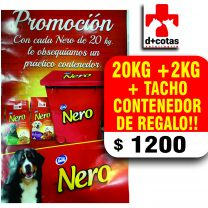 Alimento Nero adulto 20+2 kg + 1 tacho dispensador de regalo $1200