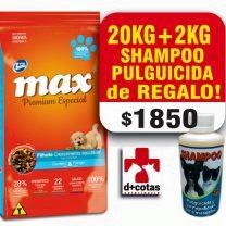 MAX CACHORRO 20+2 KG + SNACKS +1 SHAMPOO PULGUICIDA DE REGALO!! $1850