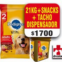 PEDIGREE ADULTO 22 KG + SNACKS + 1 TACHO DISPENSADOR $1700 ENVIO GRATIS!!