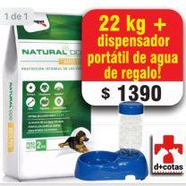 PROMO!! NATURAL DOG ADULTO 22 KG + 1 DISPENSADOR DE AGUA Y COMIDA DE REGALO $1390