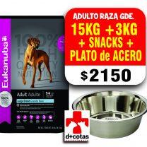 Eukanuba adulto raza grandes 15+3 Kg más snacks +plato de acero