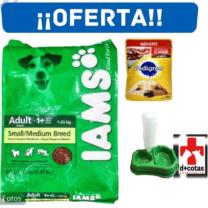 ALIMENTO IAMS PERROS ADULTOS 15 KG + PLATO DOBLE + SNACKS + ENVIO GRATIS